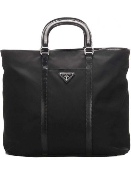 Черная нейлоновая сумка-тоут на молнии с карманами Prada Pre-owned