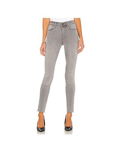 Хлопковые серые джинсы-скинни на молнии Frame