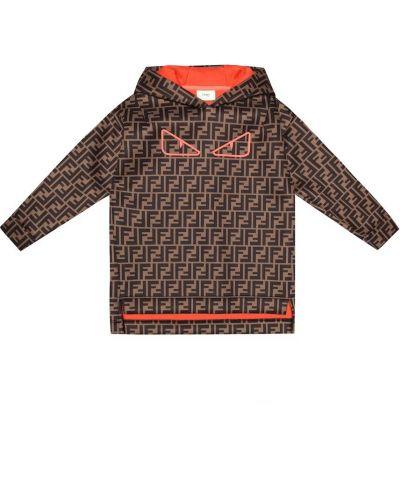 Brązowy bluza z kapturem Fendi Kids