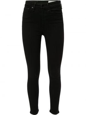 Прямые облегающие хлопковые черные прямые джинсы Rag & Bone