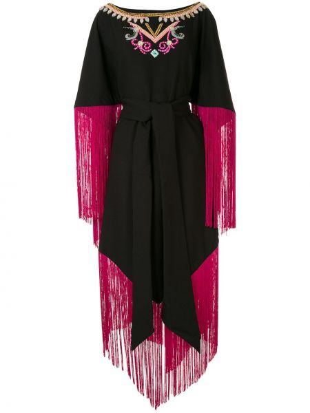 Розовое расклешенное платье миди с бахромой с поясом Manish Arora