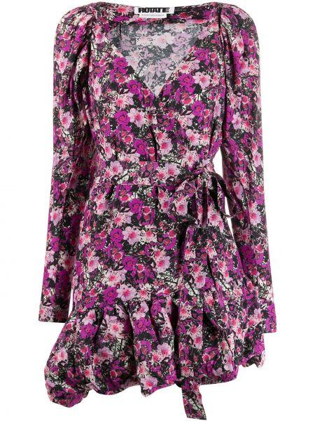 Платье с поясом розовое с цветочным принтом Rotate
