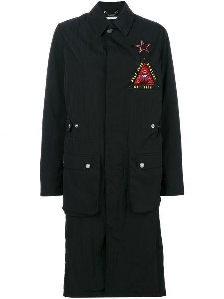 Черное длинная куртка с воротником милитари Givenchy