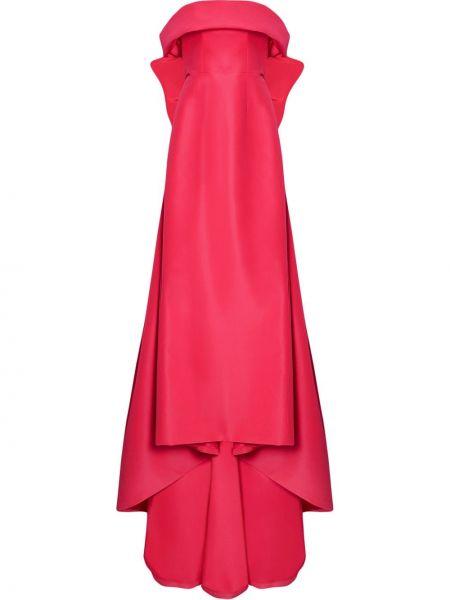 Открытое шелковое красное платье макси Carolina Herrera