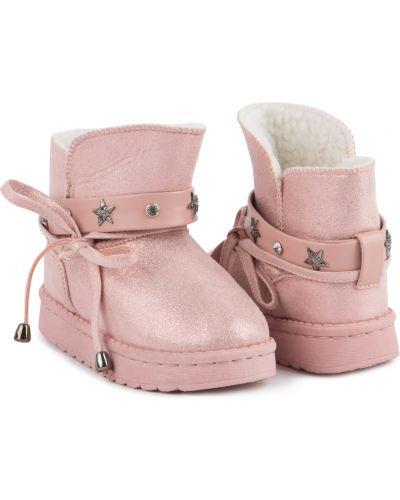 Брендовые розовые кожаные угги Kdx
