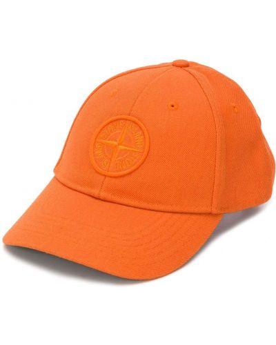 Оранжевая шерстяная бейсболка с нашивками Stone Island