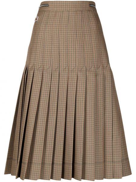Pofałdowany brązowy wełniany spódnica midi z haftem Lacoste