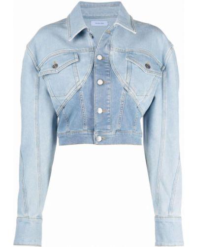 Ватная синяя джинсовая куртка с воротником Mugler
