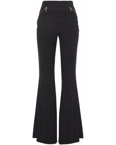 Czarne spodnie z wiskozy rozkloszowane Rachel Zoe
