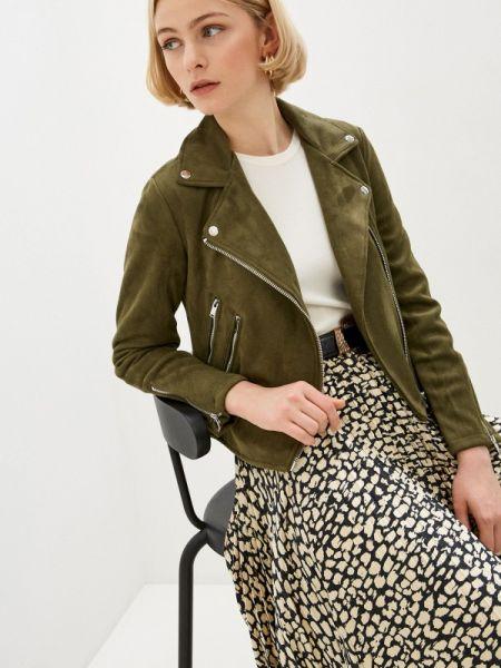 Кожаная куртка весенняя зеленая Pimkie