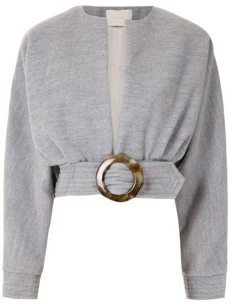 Свободное серое длинное пальто с капюшоном Framed