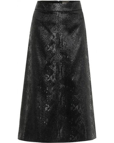 Шелковая черная юбка миди Saint Laurent