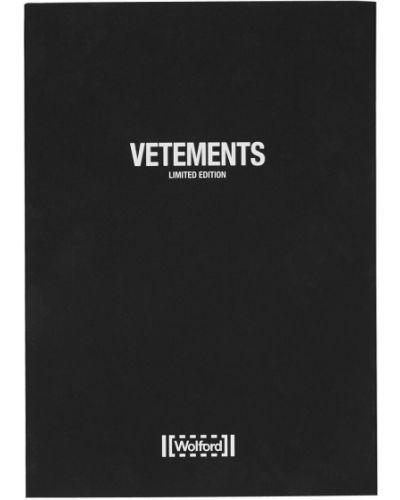 Нейлоновые бежевые колготки с принтом Vetements