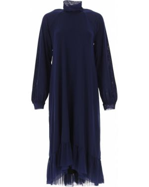 Niebieska sukienka wieczorowa asymetryczna z długimi rękawami Fuzzi