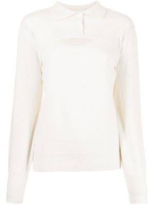 Biała koszulka z długimi rękawami Pushbutton