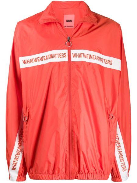 Оранжевая облегченная куртка с манжетами с вышивкой Wwwm