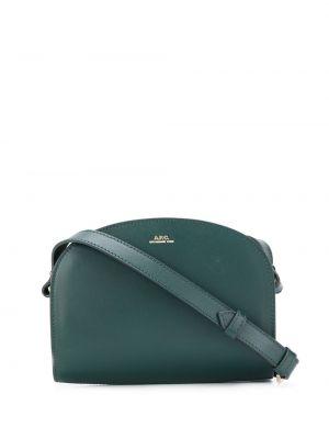 Кожаная зеленая маленькая сумка на молнии A.p.c.