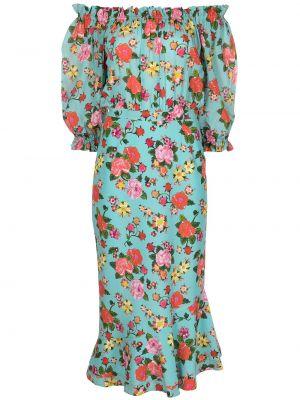Niebieska sukienka z printem Saloni