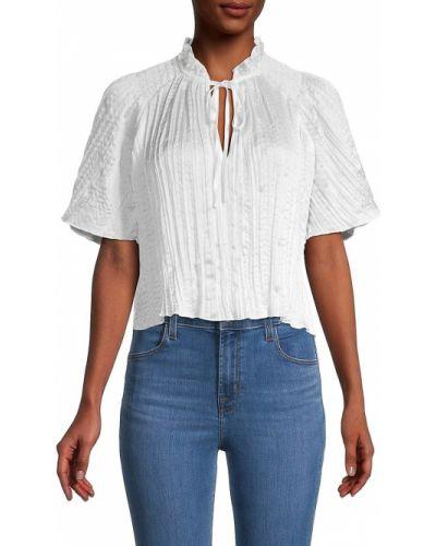 Белая блузка с V-образным вырезом с короткими рукавами Bcbgeneration