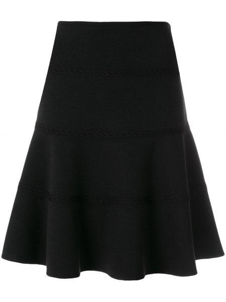 Черная ажурная прямая юбка винтажная Alaïa Pre-owned