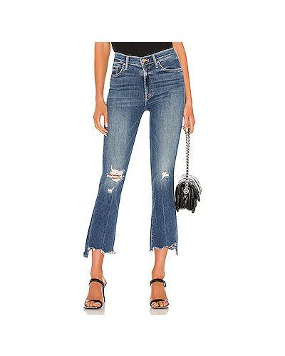 Синие рваные укороченные джинсы на молнии Mother