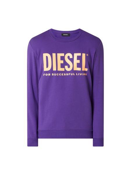 Fioletowa bluza bawełniana z printem Diesel