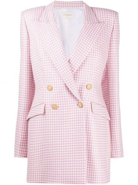 Шерстяной розовый удлиненный пиджак двубортный Giuseppe Di Morabito