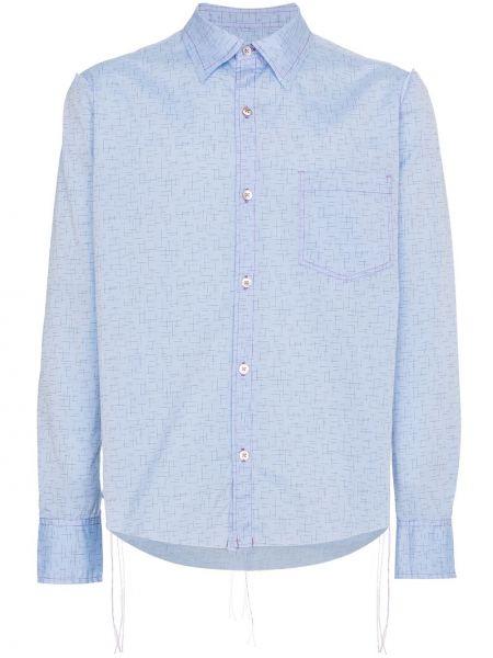 Niebieska klasyczna koszula bawełniana z długimi rękawami Sulvam