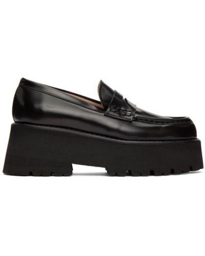 Czarne loafers skorzane na koturnie Msgm