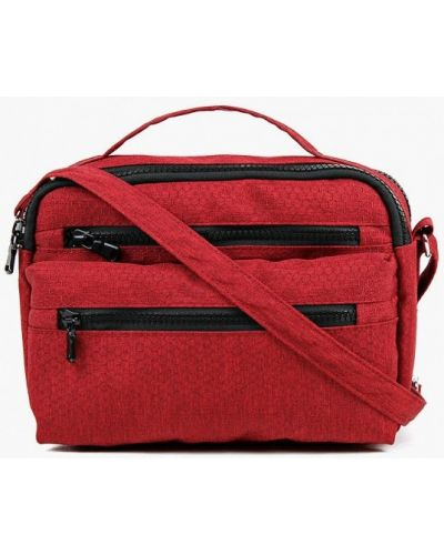 Красная текстильная сумка через плечо медведково