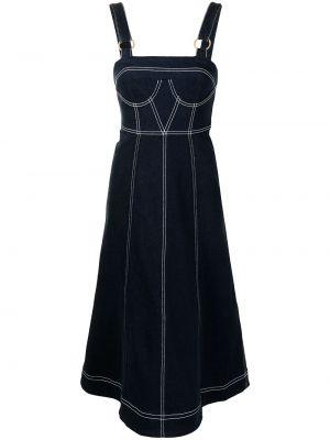 Расклешенное синее джинсовое платье квадратное Alice Mccall