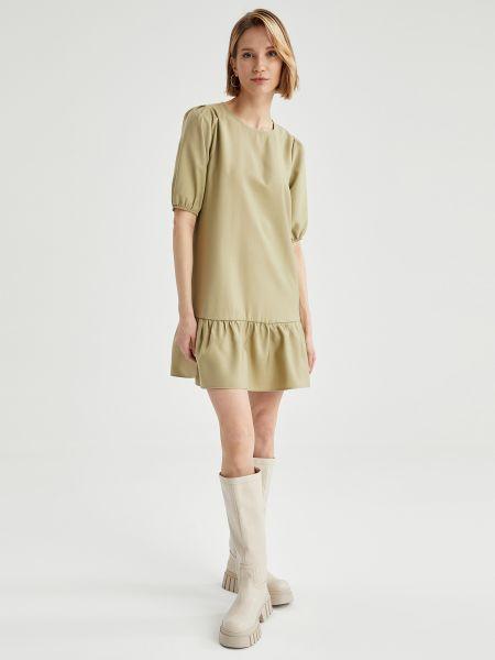 Платье мини короткое - бежевое Defacto