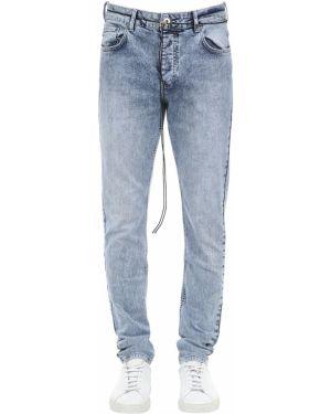 Niebieskie jeansy skorzane z paskiem Other