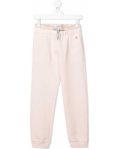 Спортивные розовые брюки из вискозы эластичные Lanvin Enfant