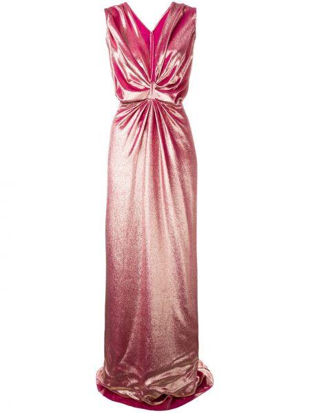Розовое бархатное вечернее платье с V-образным вырезом без рукавов Rhea Costa