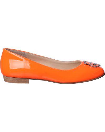 Оранжевые балетки кожаные Love Moschino