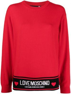 Красный джемпер круглый с вырезом Love Moschino