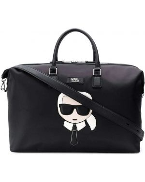 Дорожная сумка на плечо с аппликациями Karl Lagerfeld