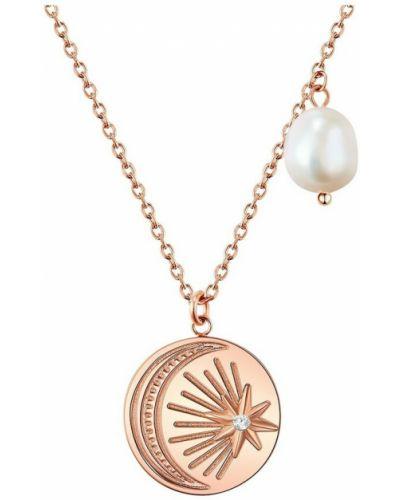 Różowy naszyjnik srebrny Valero Pearls