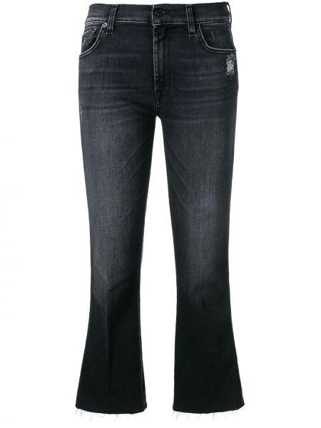 Укороченные джинсы расклешенные на пуговицах 7 For All Mankind