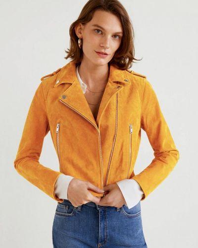 Кожаная куртка осенняя Mango