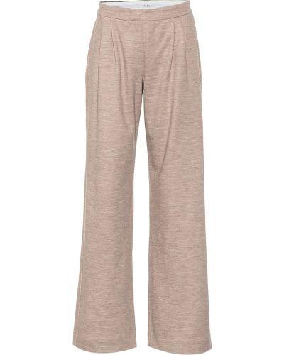Bawełna wełniany beżowy klasyczne spodnie Max Mara
