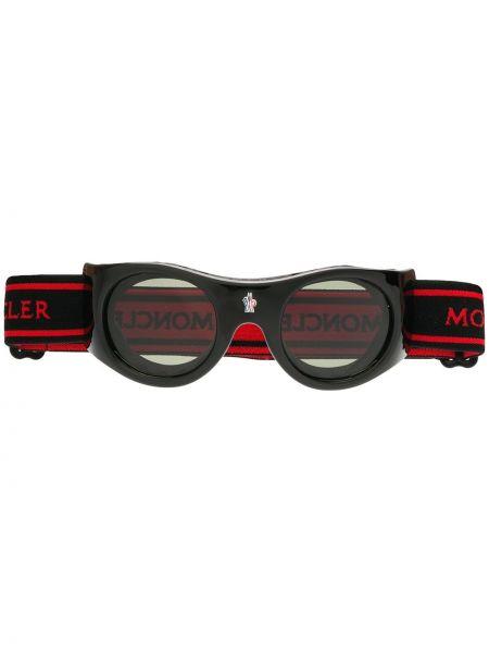 Муслиновые черные солнцезащитные очки круглые Moncler Eyewear