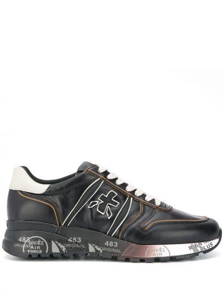 Кожаные черные кроссовки с заплатками на шнуровке Premiata