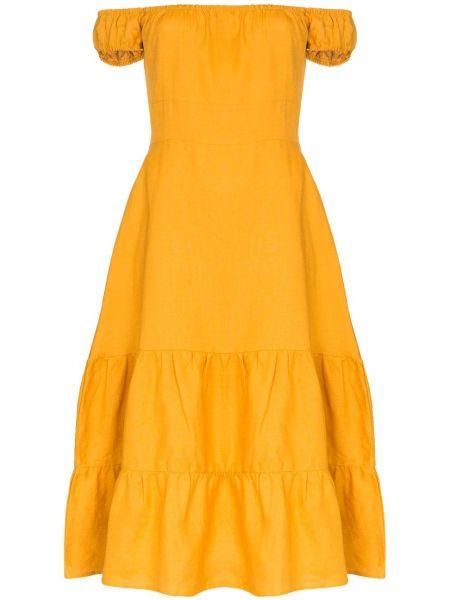Летнее платье с открытыми плечами с манжетами Reformation
