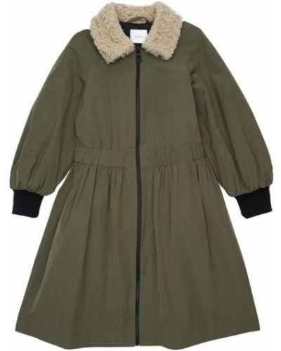 Bawełna zielony długi płaszcz z kołnierzem na gumce Unlabel