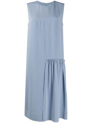 Шелковое синее платье миди без рукавов Salvatore Ferragamo