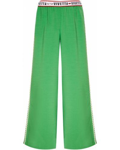 Брюки на резинке зеленый с лампасами Vivetta