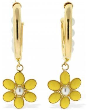 Żółte kolczyki sztyfty perły srebrne Rowen Rose