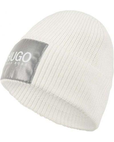 Prążkowana biała czapka wełniana Hugo
